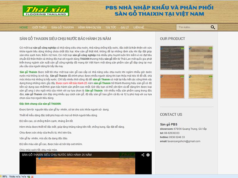 PBS Thiết kế website cho Sàn gỗ Thaixin